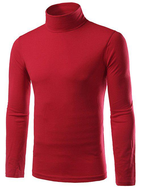Turtleneck Plain Slim Fit Long Sleeve T-Shirt - RED 2XL