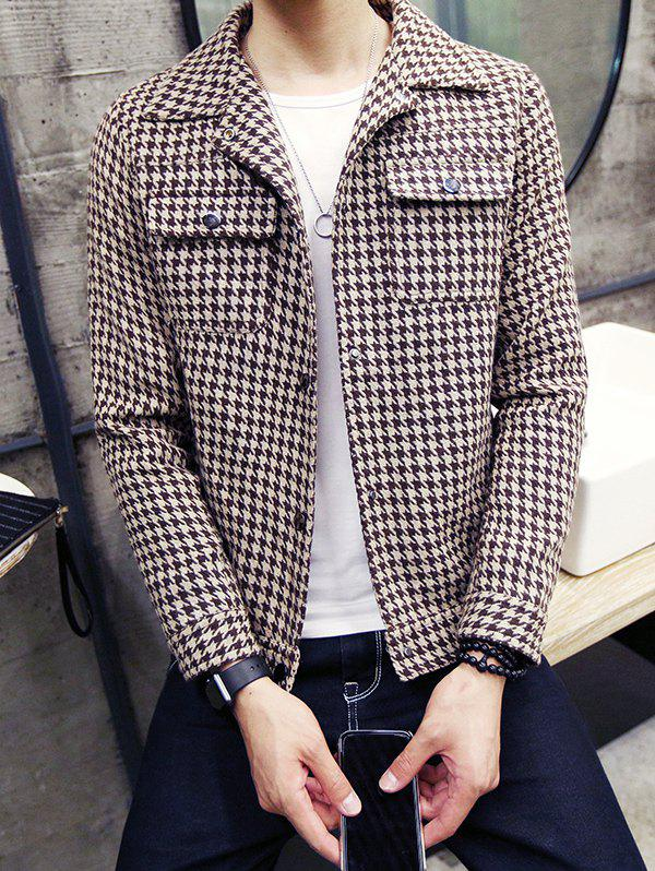 Snap Front Houndstooth Pocket Wool Blend Coat - COFFEE M