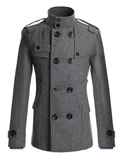 Stand Collar Double Breasted Zipper Design Woolen Blends Coat single breasted zipper design woolen coat