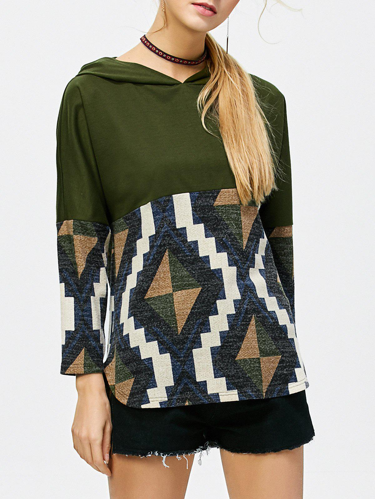 Geometric Print Curved HoodieWomen<br><br><br>Size: M<br>Color: OLIVE GREEN