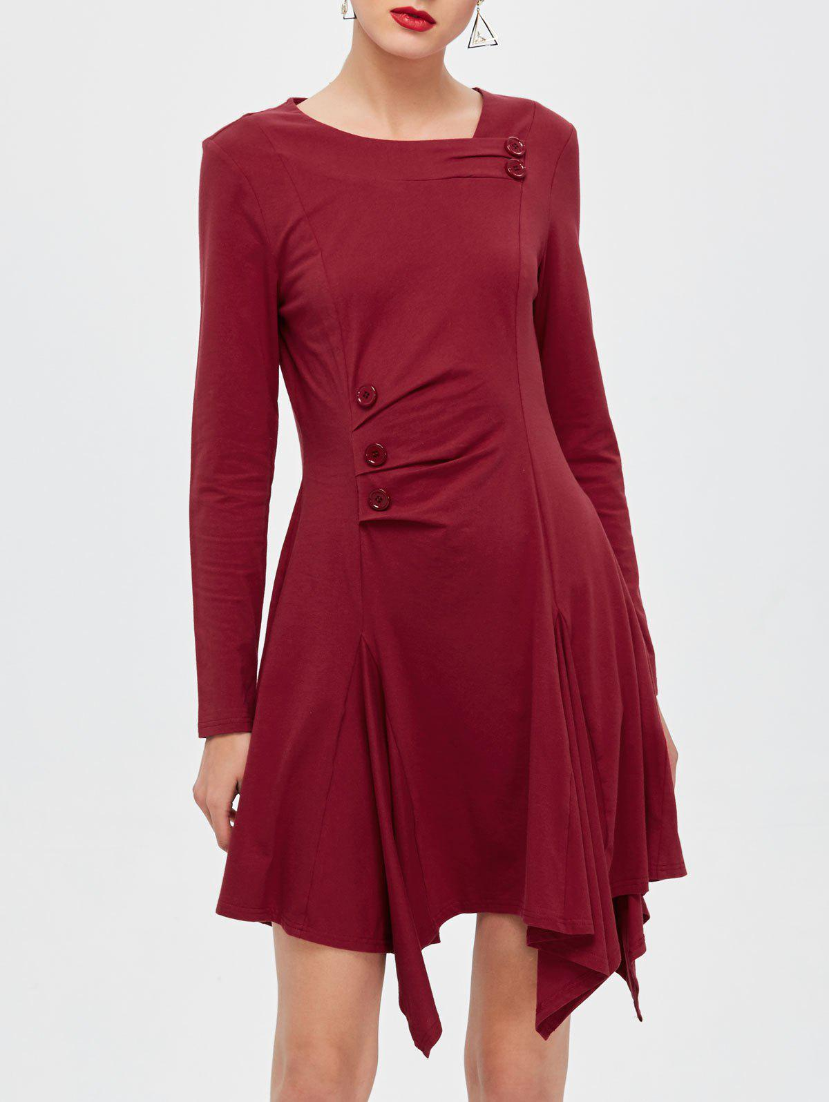 Button Decorated Asymmetrical DressWomen<br><br><br>Size: M<br>Color: CLARET
