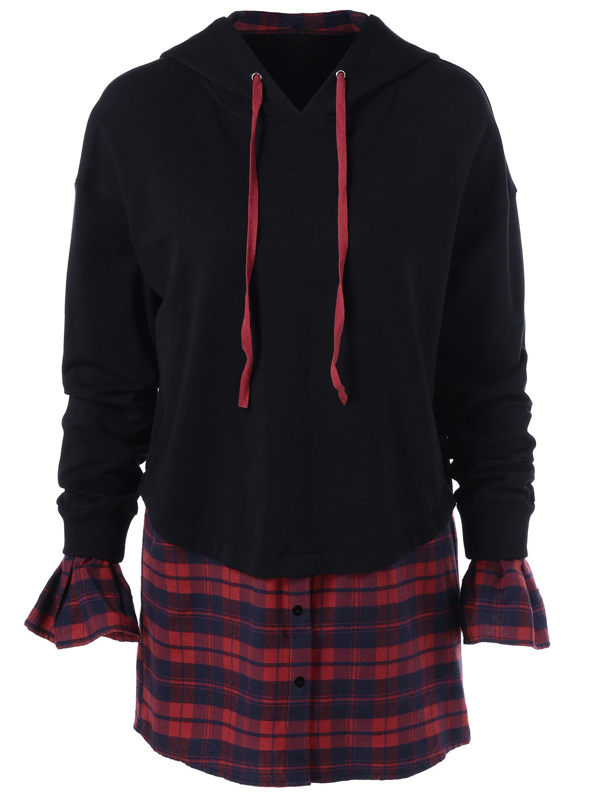 Plaid Insert Bell Sleeves HoodieWomen<br><br><br>Size: M<br>Color: BLACK AND RED