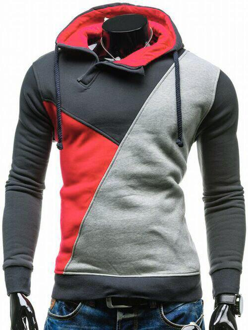 Contrast Color Side Zip Up Pullover Hoodie - RED M