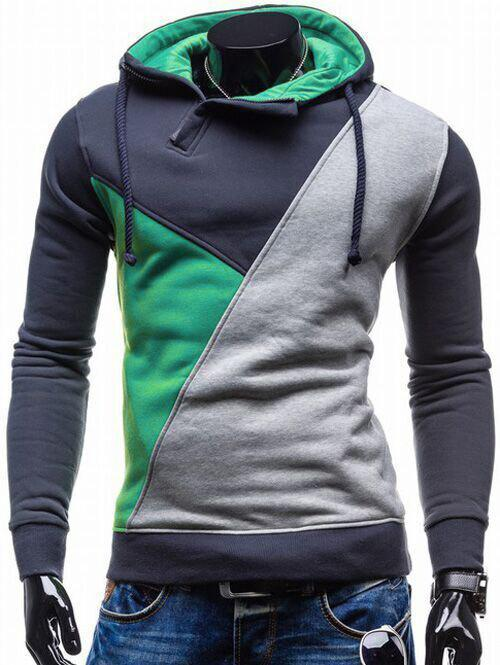 Contrast Color Side Zip Up Pullover Hoodie - GREEN L