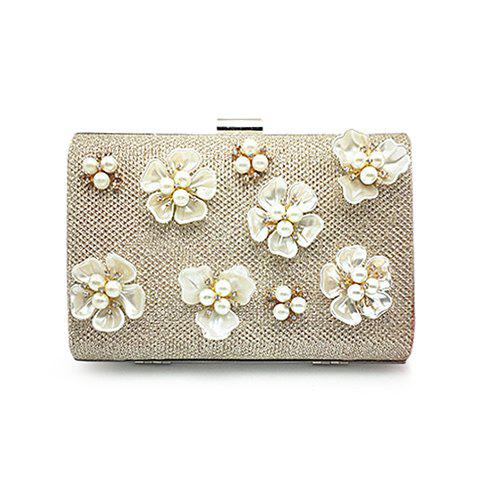 Floral Trim Clutch Evening Bag - CHAMPAGNE
