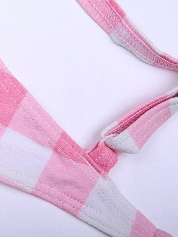 Plaid Padded Push Up Bikini Top - PINK XS