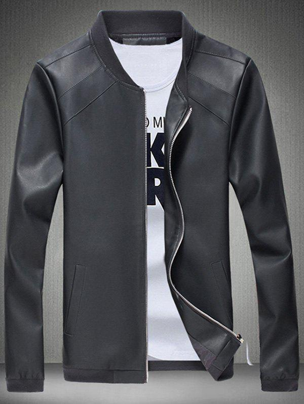 Buy Stand Collar Stitching Faux Leather Jacket BLACK GREY