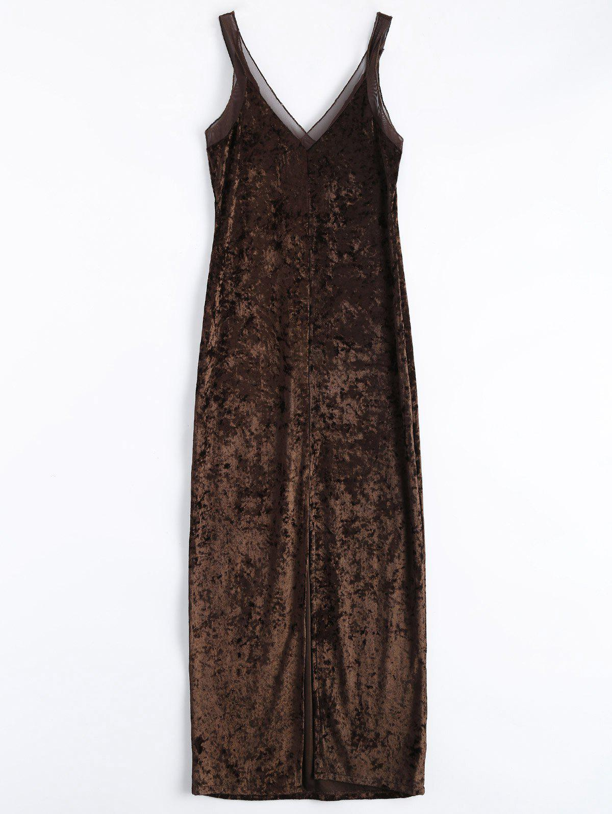 Velvet Mesh Insert Slip Fitted Dress tassel insert back fitted dress