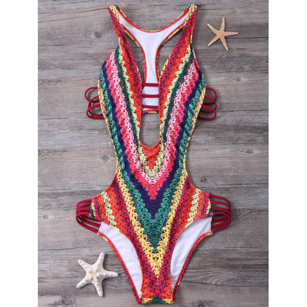 High Cut Printed One-Piece SwimwearWomen<br><br><br>Size: S<br>Color: RED