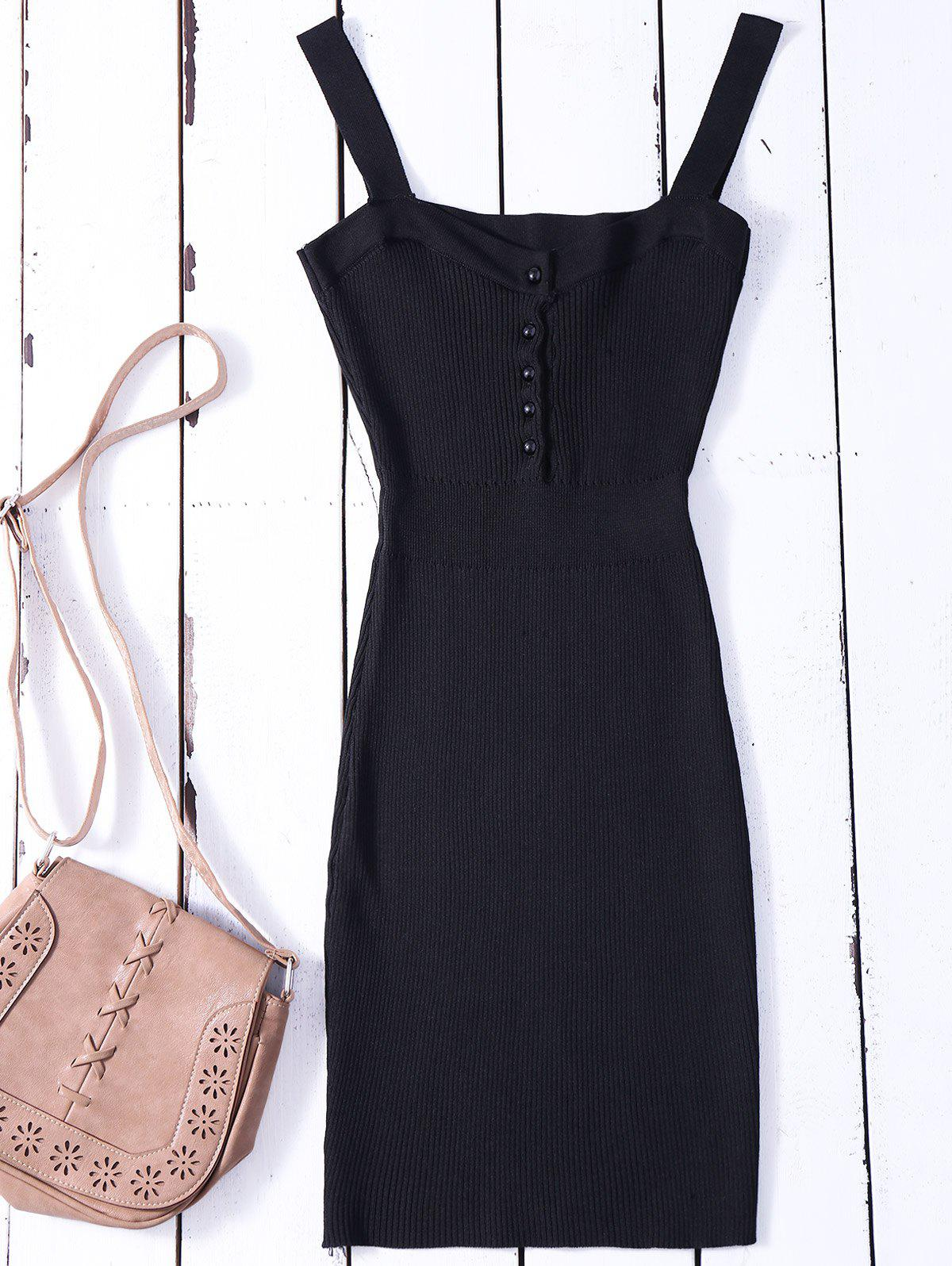 Bodycon Wide Strap Tank Ribbed Jumper Dress 206666601