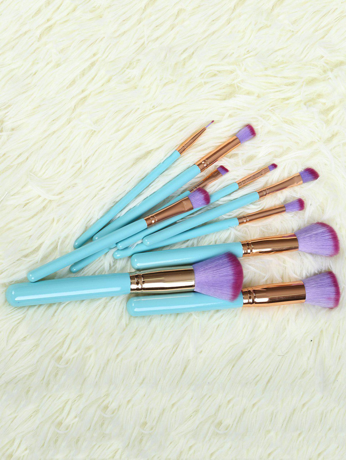 10 Pcs Makeup Brushes Set with Scallop Brush Bag - BLUE