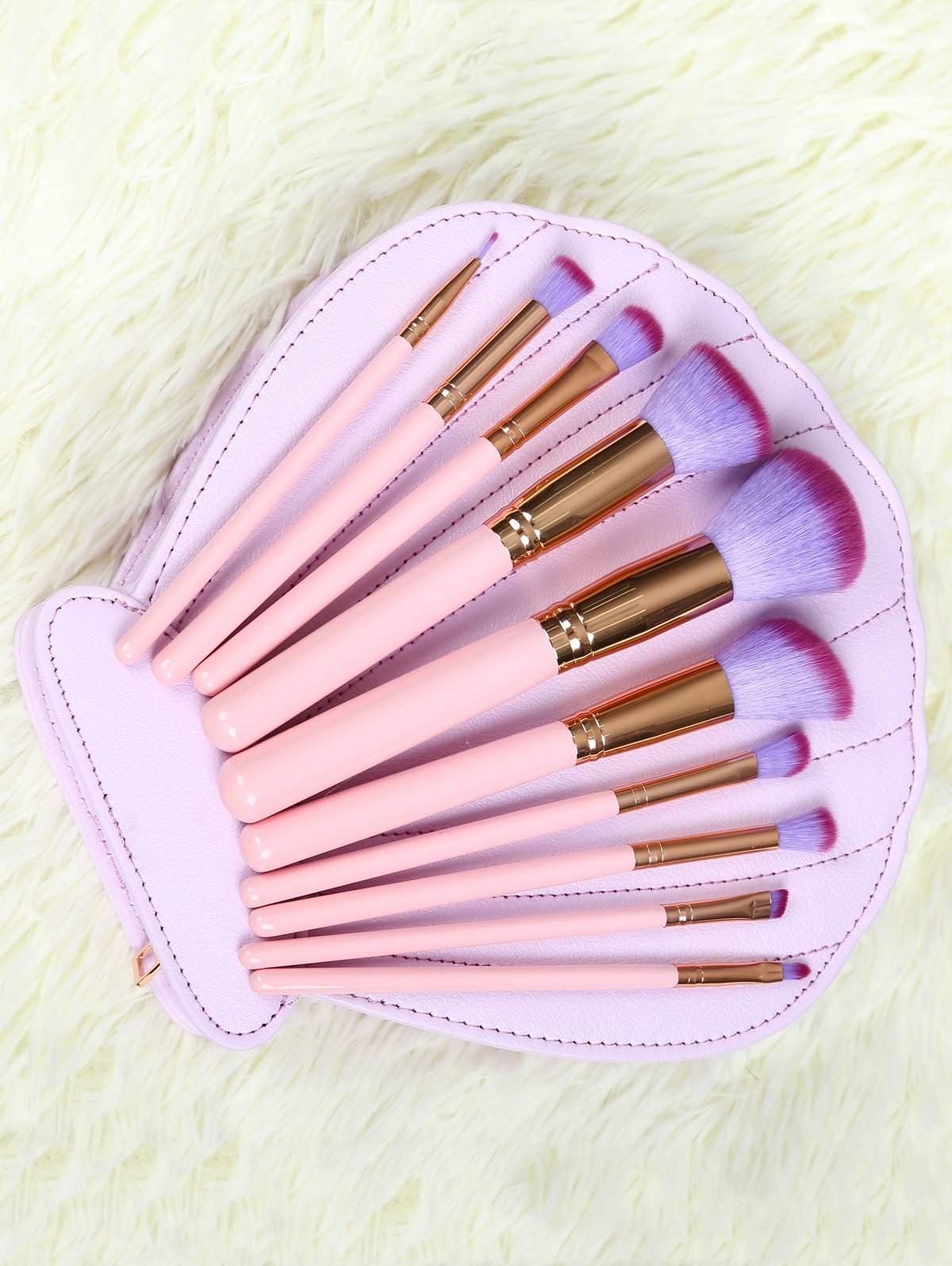 10 Pcs Makeup Brushes Set with Scallop Brush Bag - PINK