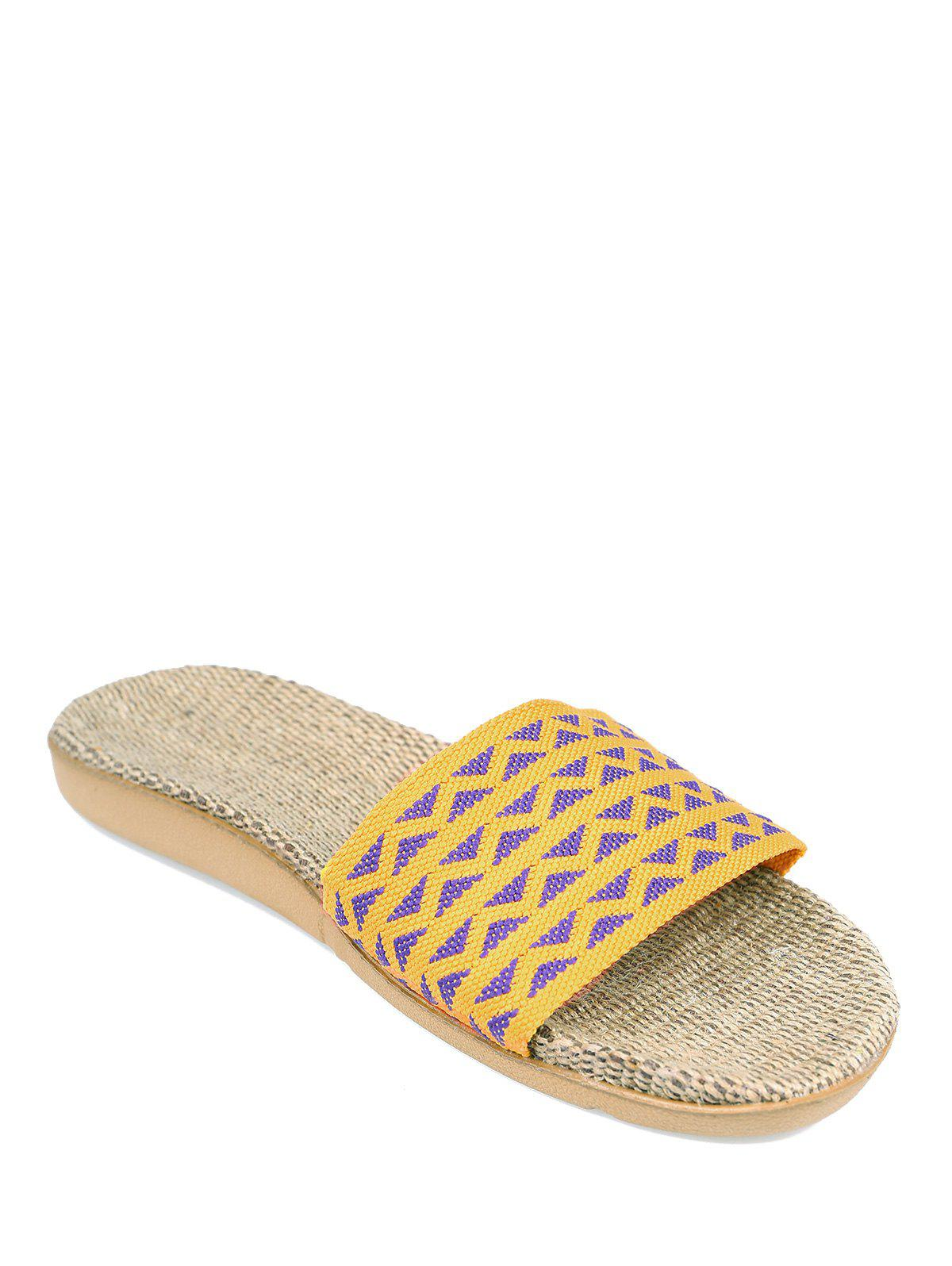 Geometric Pattern Color Block House Slippers - YELLOW SIZE(37-38)