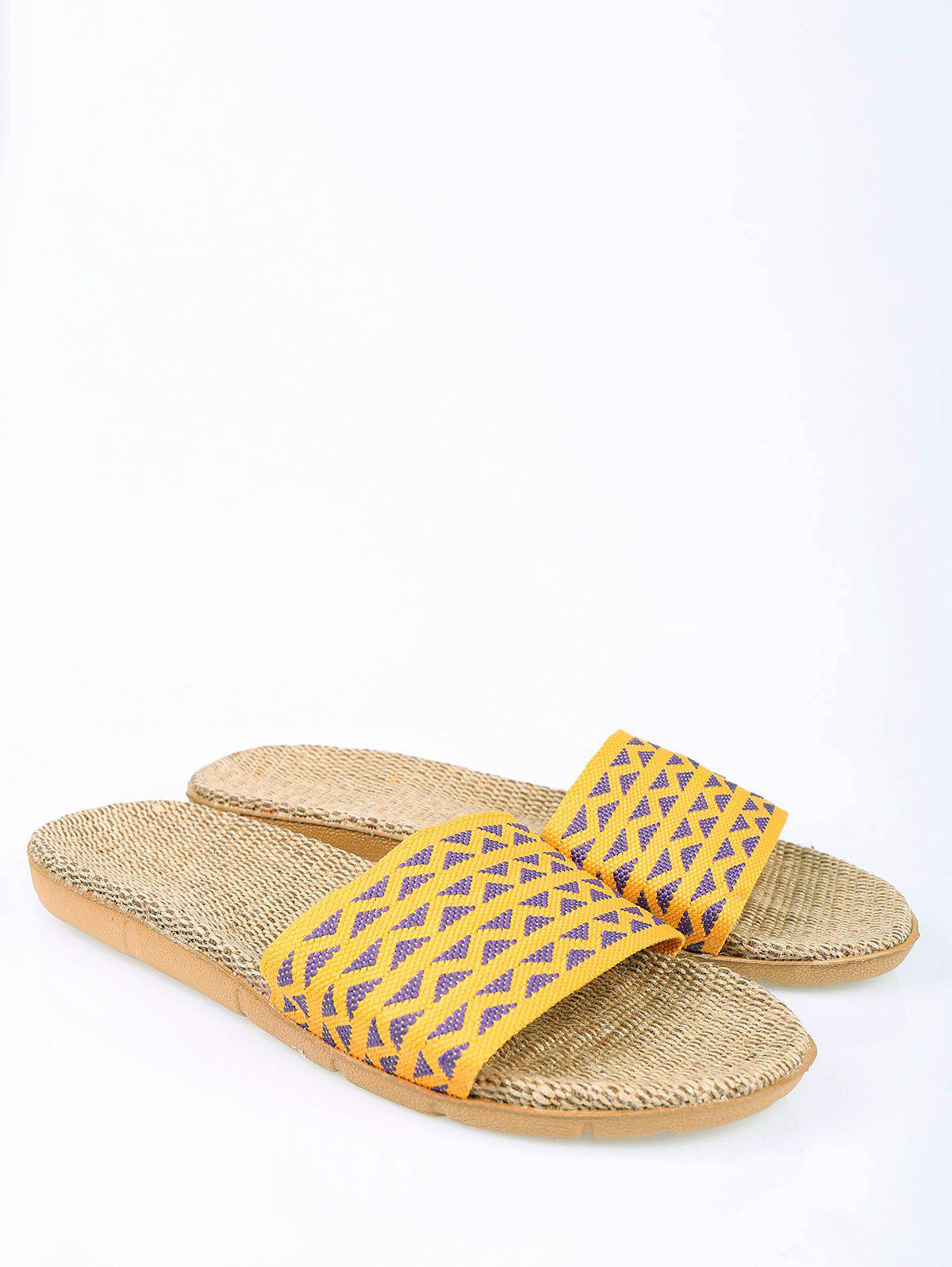 2018 Geometric Pattern Color Block House Slippers YELLOW ...