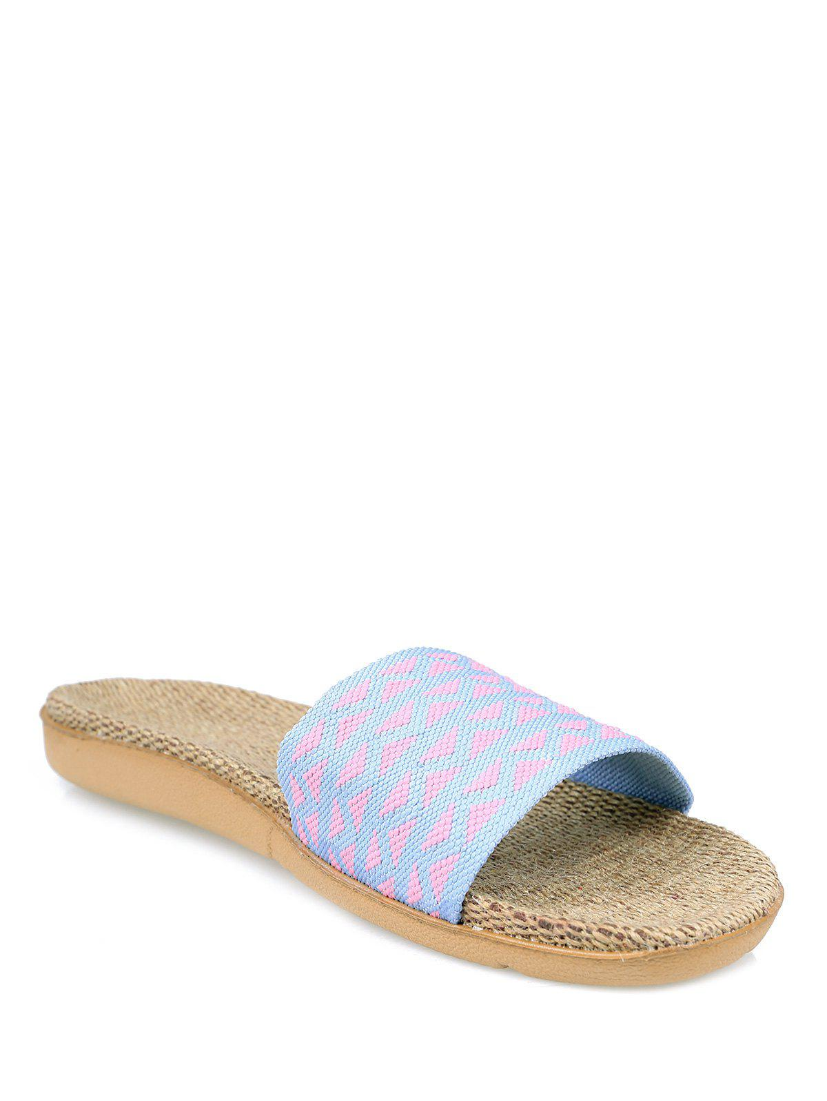 Geometric Pattern Color Block House Slippers - LIGHT PURPLE SIZE(37-38)