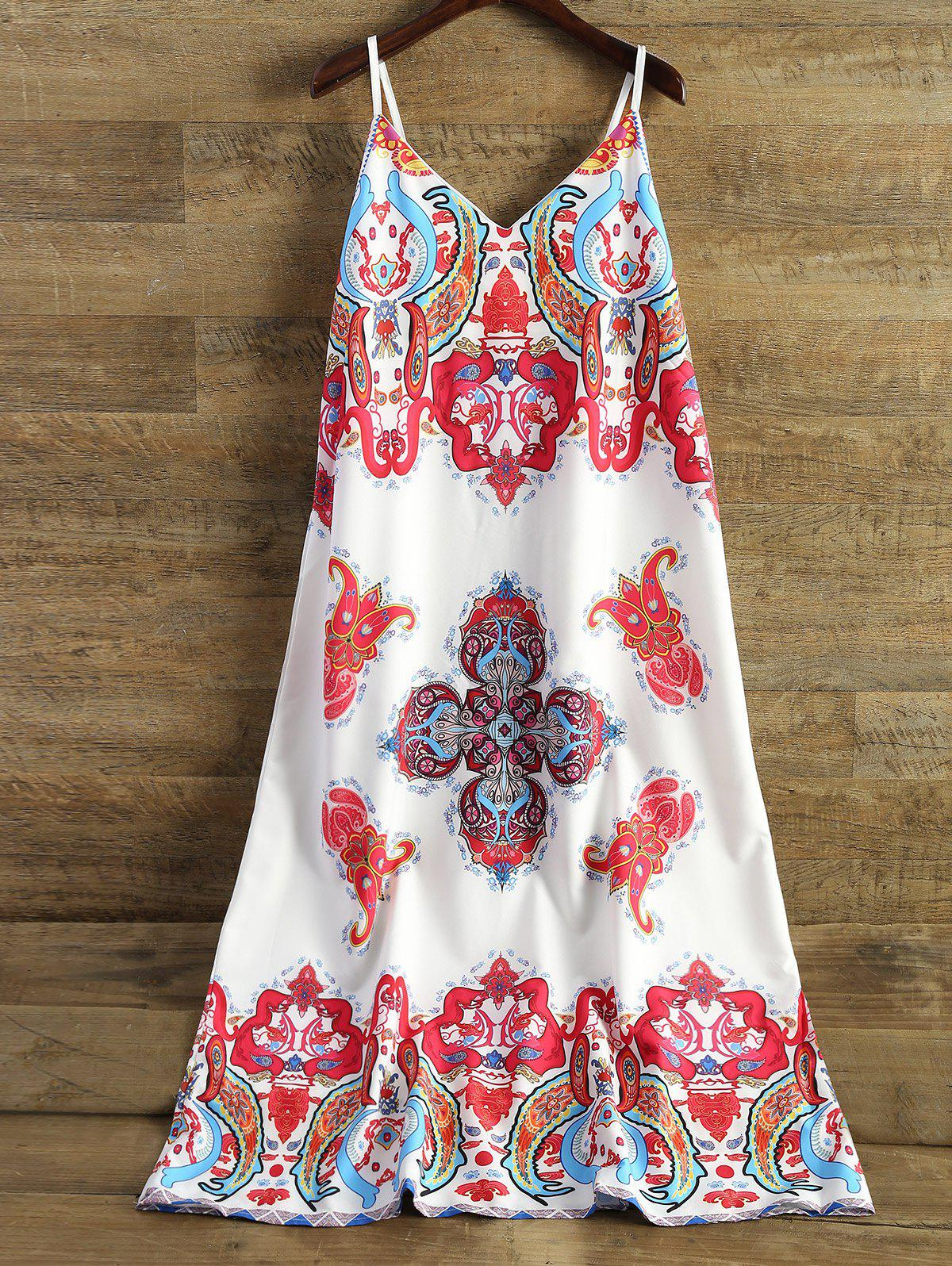 Spaghetti Strap Printed Midi Dress - WHITE XL