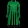 Stand Collar Long Sleeves Lacework Dress - GREEN L