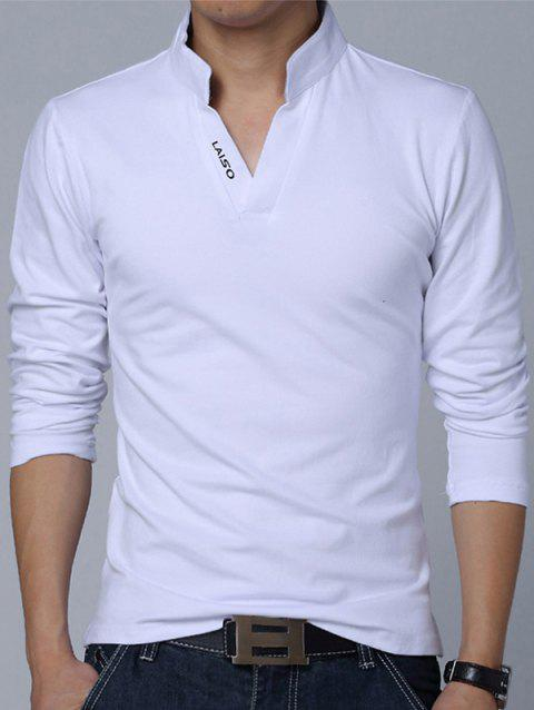 Stand Collar Long Sleeve Letter Polo Shirt - WHITE 2XL