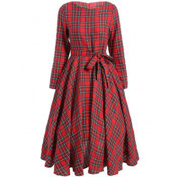 Retro Midi Tartan Dress