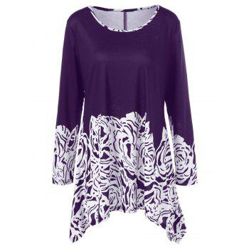 Plus Size Printed Asymmetric Longline T-Shirt