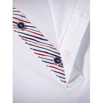 Buttoned Long Sleeve Pinstriped T-Shirt - WHITE L
