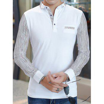 Buttoned Long Sleeve Pinstriped T-Shirt