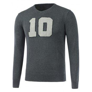 V Neck Fuzzy Patch Knitwear