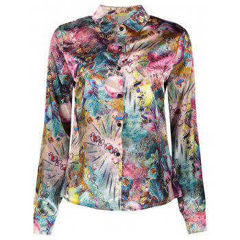Floral Print Silk Like Shirt