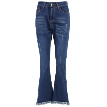 High Waisted Fringed Bell-Bottom Jeans