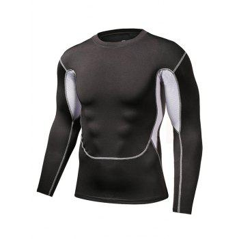 Long Sleeve Gym T-Shirt with Color Insert