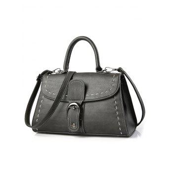 Stiching Flapped Buckle Strap Handbag