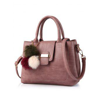 PU Leather Handbag with Pompon Detail