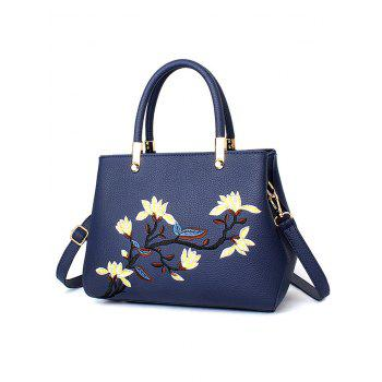 Flower Embroidered Faux Leather Handbag