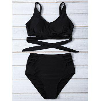 High-Waisted Bandage Hollow Out Bikini Set