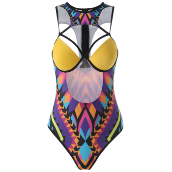 Crossover Cut Out Printed One-Piece Swimwear