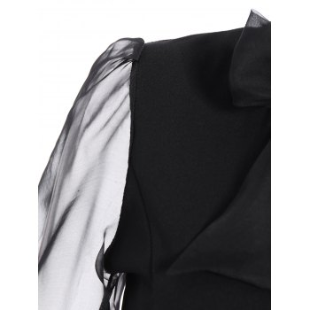 Bow Tie Collar empiècements Robe - Noir L