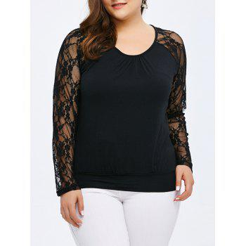 Scoop Neck Lace Panel Long Sleeve Top