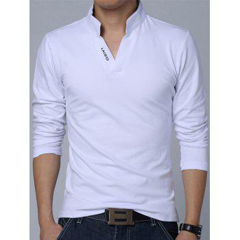 Buy Stand Collar Long Sleeve Letter Polo Shirt WHITE