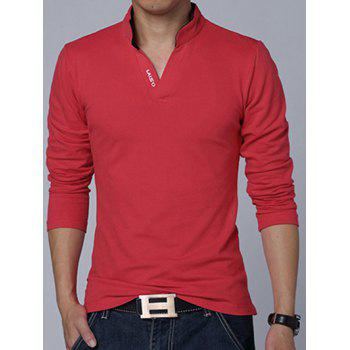 Stand Collar Long Sleeve Letter Polo Shirt