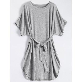 Casual Batwing Sleeve Belted Mini Dress