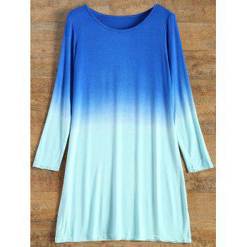 Ombre Long Sleeve T-Shirt Dress - TURQUOISE S