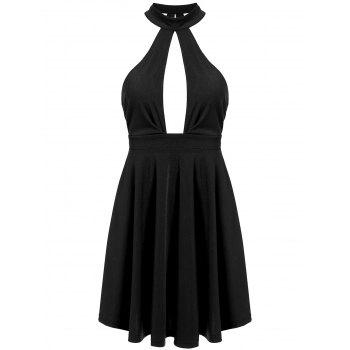 Low Back Keyhole Mini Cocktail Skater Dress