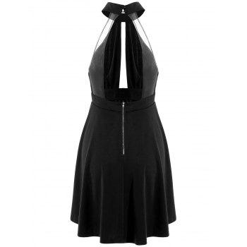 Low Back Keyhole Mini Cocktail Skater Dress - BLACK XL