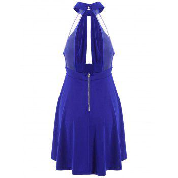Low Back Keyhole Mini Cocktail Skater Dress - BLUE XL