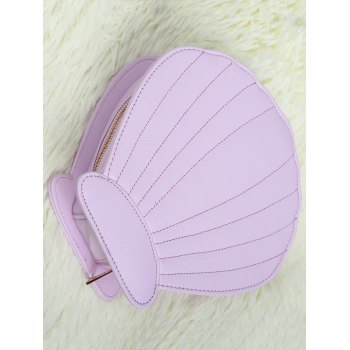 Scallop Shape Zipper Makeup Brush Bag - LIGHT PURPLE LIGHT PURPLE