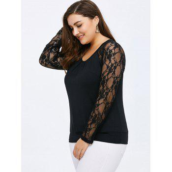 Scoop Neck Lace Panel Long Sleeve Top - BLACK 2XL