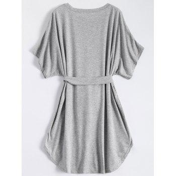 Casual Batwing Sleeve Belted Mini Dress - GRAY M