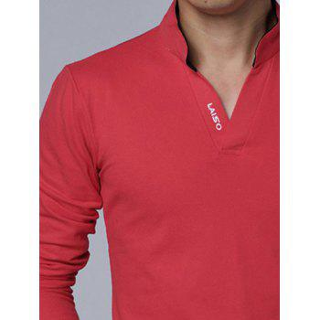 Stand Collar Long Sleeve Letter Polo Shirt - RED XL