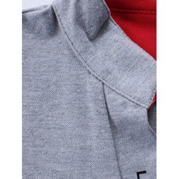 Stand Collar Long Sleeve Letter Polo Shirt - GRAY L