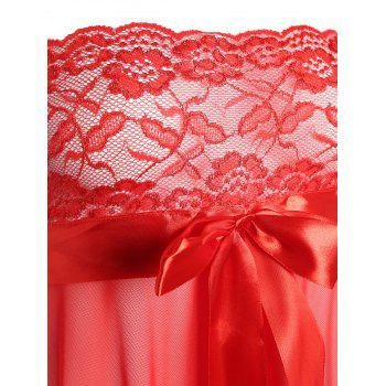 Strapless Lace Panel Mini Babydoll - RED M